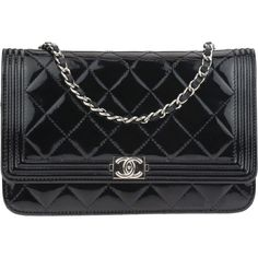 Pre-owned Chanel Black Patent Leather Boy Wallet On Chain WOC Bag ($1,950) ❤ liked on Polyvore featuring bags, handbags, chanel purse, evening purses, pouch purse, chain strap handbags and patent leather purse