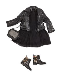 Girls\'+Leather+Biker+Jacket+&+Sleeveless+Pleated+Silk-Crepon+Dress+by+Burberry+at+Neiman+Marcus.