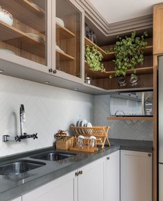 Beautiful kitchen in gray + woody + White brick flooring with pag . Interior Exterior, Interior Design, May House, Brick Flooring, Contemporary Kitchen Design, Decorating Small Spaces, Dream Decor, Beautiful Kitchens, House Rooms