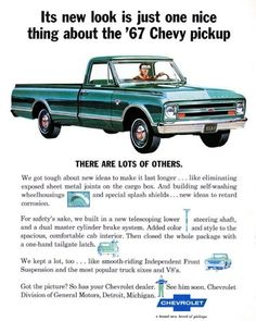 #tbt Vintage Chevrolet ad for the new look 1967 trucks.  #chevrolet #chevy #gmc #classictruck #classic #vintage #truck #trucks #blazer #suburban #c10 #c20 #c30 #k5 #k10 #k20 #k30 #advertising