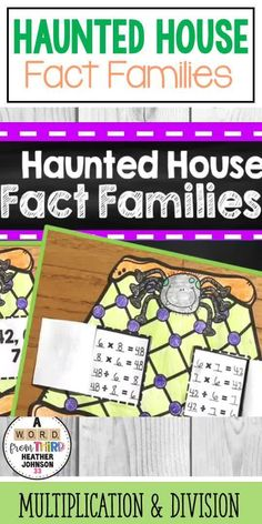 This is a perfect way to engage your students in multiplication and division fact families. It also makes a wonderful bulletin board during the month of October! Students will color their Halloween Haunted House and then use the factors/products to complete fact families for each window. Math Fact Practice, Fact Families, Multiplication And Division, Halloween Haunted Houses, Math Facts, Center Ideas, School Holidays, Elementary Math, Math Centers