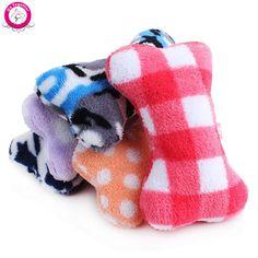 1pc Plush Pet Dog Sound Toys Bone Shape Puppy Cat Chew Squeaker Squeaky Toy