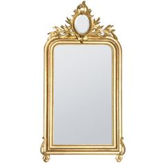 19th Century Gold Gilded Baroque French Mirror | From a unique collection of antique and modern wall mirrors at https://www.1stdibs.com/furniture/mirrors/wall-mirrors/