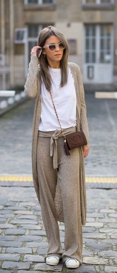 cosy casual street style. knitted trousers.