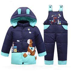 Bebê Do inverno Para Baixo Casaco Parka Crianças Crianças Quentes Casacos Snowsuit Infantil Roupas Meninos Meninas Outerwear Casaco + Calça Conjunto de Roupas 2-5A