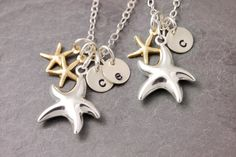Starfish Mother-Daughter Necklace (1-3 Initials)