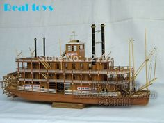 Scale wood boat 1/100 classic wooden steam-ship USS Mississippi model kit