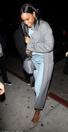 Looking grey-t! Kelly Rowland, 34 , looked effortlessly glam as she stepped out in her chic charcoal ensemble as she headed out with her pals to The Nice Guy in West Hollywood on Friday