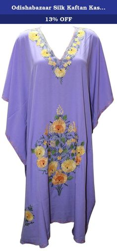 Odishabazaar Silk Kaftan Kashmiri Embroidered Calf Length Dress for Women (blue-2). Full length Kashmiri Kaftan/lounge wear/beac wear/ maxi dress with Ari Embroidered Flowers.