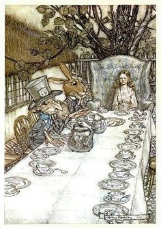 Arthur Rackham Alice in Wonderland A Mad Tea Party painting, oil on canvas & frame; Arthur Rackham Alice in Wonderland A Mad Tea Party is shipped worldwide, 60 days money back guarantee. Arthur Rackham, Alice Tea Party, Alice In Wonderland Tea Party, Lewis Carroll, Alice In Wonderland Illustrations, Edmund Dulac, Mad Hatter Tea, Mad Hatters, Adventures In Wonderland