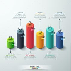 Modern 3D Style Cylinder Bar Chart infographic Template PSD, Vector EPS, AI Illustrator