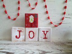 Christmas wood Blocks with Joy and snowman