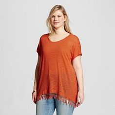 Women's Plus Size Short Sleeve Top with Fringe Sunset Glow - Born Famous (Juniors')