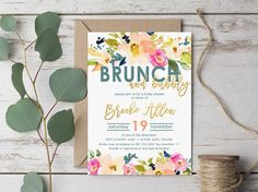 Brunch & Bubbly Bridal Shower Invitation  Watercolor by MLBandCo