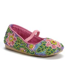 Look at this Fairy Dreams Purple Beaded Flower Flat on #zulily today!