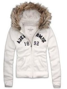 Abercrombie and Fitch Hoodie Michelle White Size Small with Fur | eBay