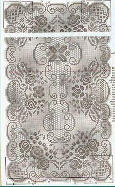 Crochet Tablecloth Pattern, Crochet Doily Patterns, Thread Crochet, Crochet Doilies, Filet Crochet Charts, Crochet Table Runner, Filets, Crochet Home, Chrochet