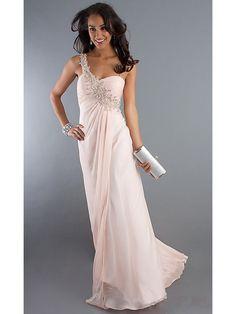 Sheath / Column One Shoulder Long Chiffon Prom Evening Formal Dresses 3201008