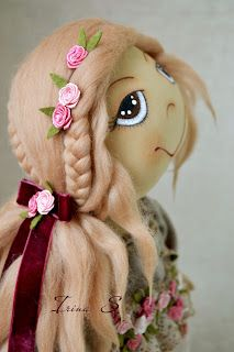 Fabric doll beautiful hair