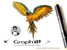 Trublion m2r - Peroquet au marker Graph'It alchool. Graph It, Logo Typo, Twin Tips, Markers, Alcohol, Animals, Paint, Rubbing Alcohol, Animales