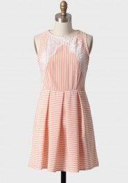 sailing club striped dress in peach