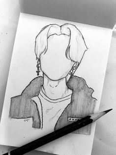 #jimin #fila Dark Art Drawings, Kpop Drawings, Art Drawings Sketches Simple, Pencil Art Drawings, Girl Drawing Sketches, Boca Anime, Outline Art, Art Sketchbook, Cartoon Art