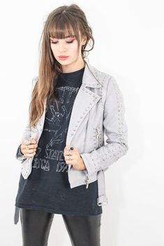 Bennie & The Jets Studded Biker Faux Suede Fabric, Rocker Chic, Latest Outfits, Band Tees, Chic Outfits, Biker, Black Leather, Leather Jacket, Model