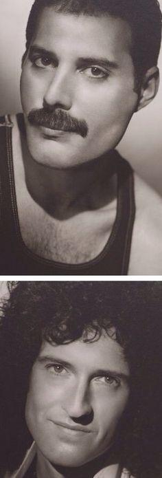 Freddie Mercury & Brian May. Freddie is so beautiful