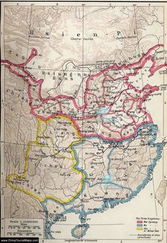 Three Kingdoms of China Map Old Maps, Antique Maps, Vintage World Maps, China Map, Asian History, The Han Dynasty, Historical Maps, Ancient China, Map Design