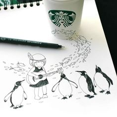 girl with acoustic guitar and peguins by tokomo-shintani Pantone, 3d Sketch, Anamorphic, Love Amor, Magazine Art, Illustration Art, Illustrations, Art Reference, Starbucks