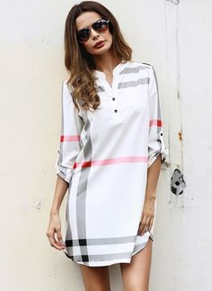 Stripe Buttons V-Neckline Long Sleeve Shift Dress Women's Fashion Dresses, Casual Dresses, Frock Patterns, Moda Chic, Next Clothes, Affordable Dresses, Mode Hijab, Long Tops, Buy Dress
