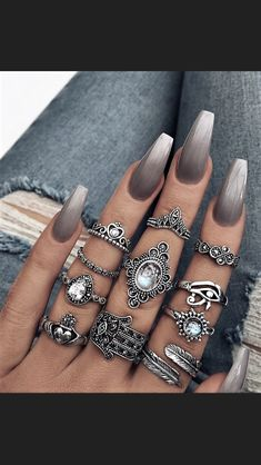 These are gorgeous! The rings and nails!