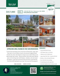 Real Estate for sale at $417,000! Come and view this custom built four bedroom, two full and one half bath, 2273 square foot sprawliing one level Sherwood ranch style home on a large .23 acre lot located at 11106 NE 30th Avenue, Vancouver, Washington 98686 in Clark County area 42 which is the South Salmon Creek area in Vancouver. The RMLS number is 18214656. It has one wood burning fireplace and a territorial view. It was built in 1985 and has an attached two car garage. The local high…