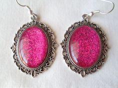 Bright Magenta Glitter Nail Polish Dangle / Drop Earrings: 18x25mm Glass Ovals in Antique Silver Scroll Edge Settings
