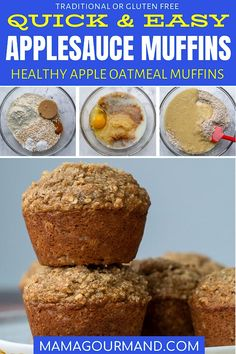 Easy Applesauce Muffins are the perfect healthy way to start the day! Applesauce Oatmeal Muffins are exceptionally moist and flavorful with applesauce banana oats cinnamon and the perfect amount of sweetness. Apple Oatmeal Muffins, Applesauce Muffins, Cinnamon Muffins, Banana Oats, Muffin Recipes, Baby Food Recipes, Dog Recipes, Rice Recipes, Bread Recipes