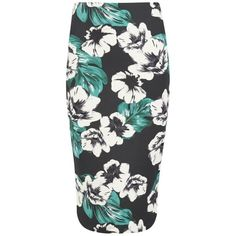 The Fifth Women's Sleepwalker Midi Skirt - Dark Jungle ($55) ❤ liked on Polyvore featuring skirts, multi, black floral skirt, flower print skirt, bodycon midi skirt, bodycon skirt and black knee length skirt