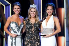 2014 Miss America Competition Wednesday Preliminary Winners Miss Oklahoma 2013 Kelsey Griswold (lifestyle & fitness) and Miss Minnesota 2013 Rebecca Yeh (talent) with Miss America 2013 Mallory Hagan.