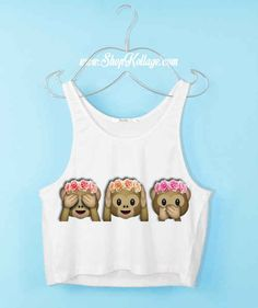 This is such a cute emoji crop top! There is a whole list of emoji stuff when you click the pic!