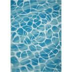 Nourison Home and Garden Aqua 5 ft. x 7 ft. Indoor/Outdoor Area Rug 338679 - The Home Depot Beach Color Schemes, Coastal Area Rugs, Outdoor Material, Contemporary Area Rugs, Indoor Outdoor Area Rugs, Florida Home, Online Home Decor Stores, Rug Making, Vivid Colors
