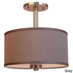 3-light Single Shade Satin Nickel Semi-flush Mount | Overstock.com Shopping - Big Discounts on Woodbridge Lighting Flush Mounts