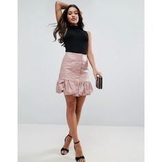 ASOS Bubble Hem Mini Skirt in Leather Look ($16) ❤ liked on Polyvore featuring skirts, mini skirts, pink, party skirts, high waisted short skirts, pink mini skirt, faux leather skirts and short skirts