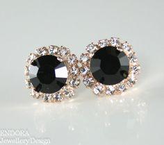 Black crystal earringBlack stud by EndoraJewellery on Etsy, $30.00