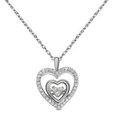 Nissoni Jewelry presents 1/3cttw Dancing Diamond Heart Pendant in 10k White Gold With Complimentary 18 Chain . Nissoni Jewelry is an excellent source of exclusive jewelry for all occasions – Engagemen