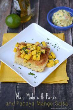 Mahi Mahi with Panko and Papaya Mango Salsa | cookingwithcurls.com
