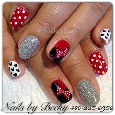 Minnie gel mani by LifeLovePolish - Nail Art Gallery nailartgallery.nailsmag.com by Nails Magazine www.nailsmag.com #nailart