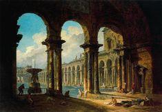 Ancient Ruins Serving as a Public Bath by Hubert Robert (1733-1808, France)