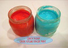 Quick 'n Easy Greek Yogurt Finger Paint  Greek Yogurt + Food Coloring=Finger Paint!