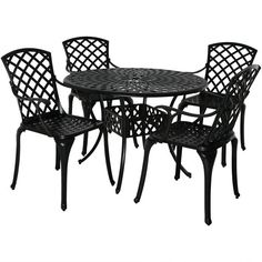 5pc Cast Aluminum Patio Furniture Dining Set - Sunnydaze Decor : Target Round Patio Table, Patio Dining Chairs, Outdoor Dining Set, Outdoor Spaces, Outdoor Ideas, Outdoor Living, Dining Furniture Sets, Outdoor Furniture, Furniture Ideas