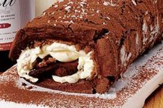 Chocolate chestnut log This chocolate roulade is similar to chocolate Swiss roll but more luxurious and chocolaty and the chestnut adds an extra kick. Perfect for Christmas or any time of the year!