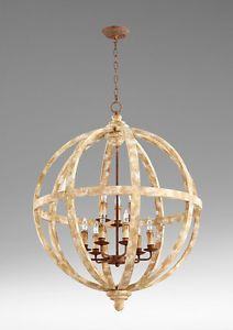 Beautiful-Large-Vintage-distressed-wood-iron-sphere-chandelier